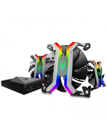 Set 3 ventilatoare GamerStorm MF120 120mm iluminare RGB