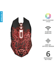 Mouse Gaming fara fir Trust GXT 107 Izza TR-23214, Wireless, negru