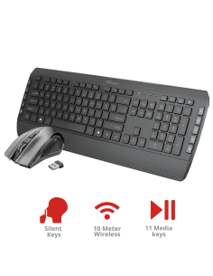 Kit tastatura si mouse (fara fir), Trust Tecla-2 Wireless TR-23239, negru