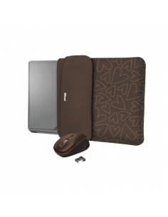 Husa Trust Yvo Reversible pentru 15.6inch, Brown Hearts + Mouse, USB Wireless, Brown Hearts