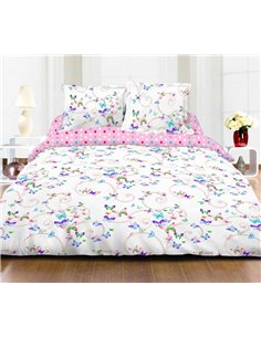 Set lenjerie de pat 2 persoane Heinner Home Butterfly, 4 piese, bumbac, multicolor