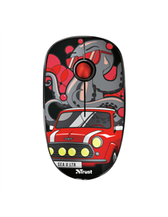 Mouse Optic Trust Sketch Silent Click, USB Wireless, Red